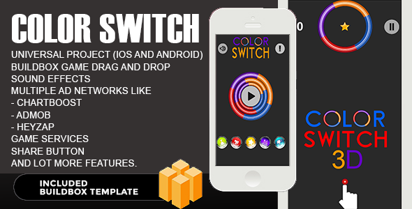 Buy Color Switch - Reskin Tamplet - Buildbox by Yakloft on CodeCanyon. Color  Switch IOS is a Cloned Version of a Very Famous Fortafy Color Switch game  made ...
