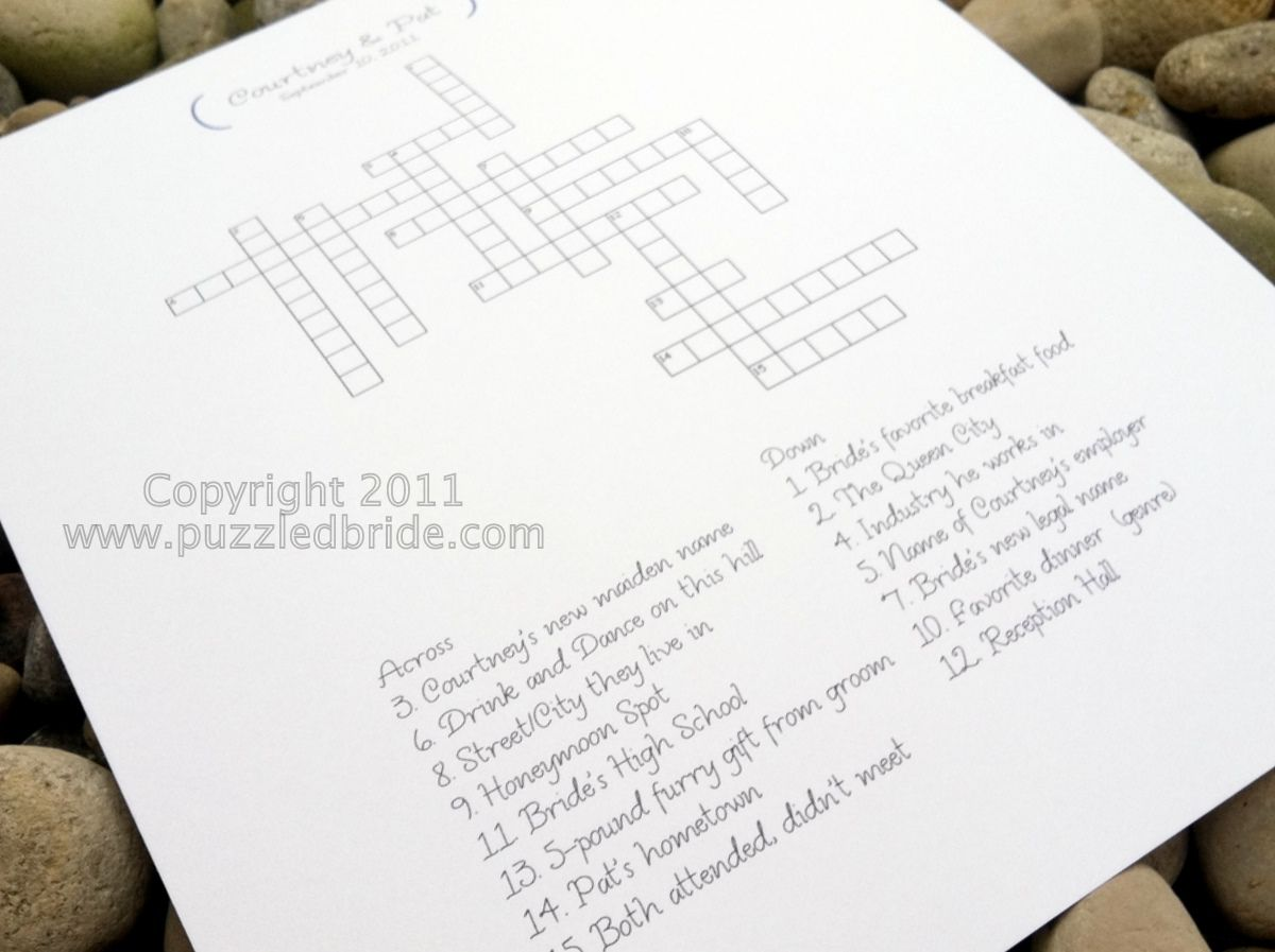 bridal shower crossword puzzle questions