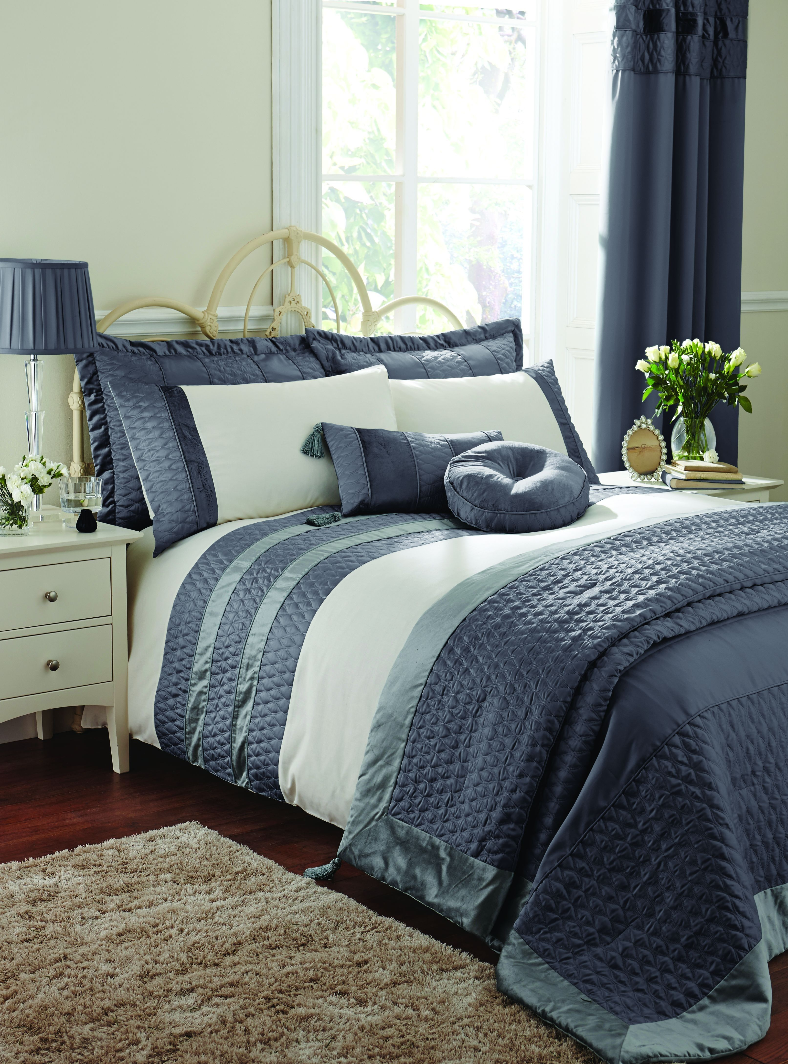 Life From Coloroll Aston Quilted Panel Duvet Set Charcoal Ponden Homes