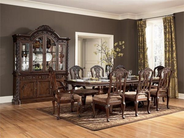 Dining Room Vase Brown Pattern Carpet Cherry Dining Set Golden Pattern  Curtain Curio Cabinet White Door