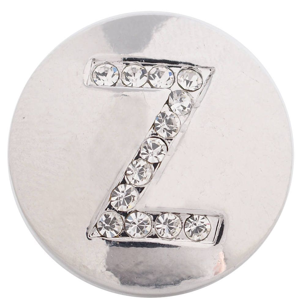 1 PC - 18MM Alphabet Letter Z Rhinestone Candy Snap Charm Silver Tone KC5240 CC3393