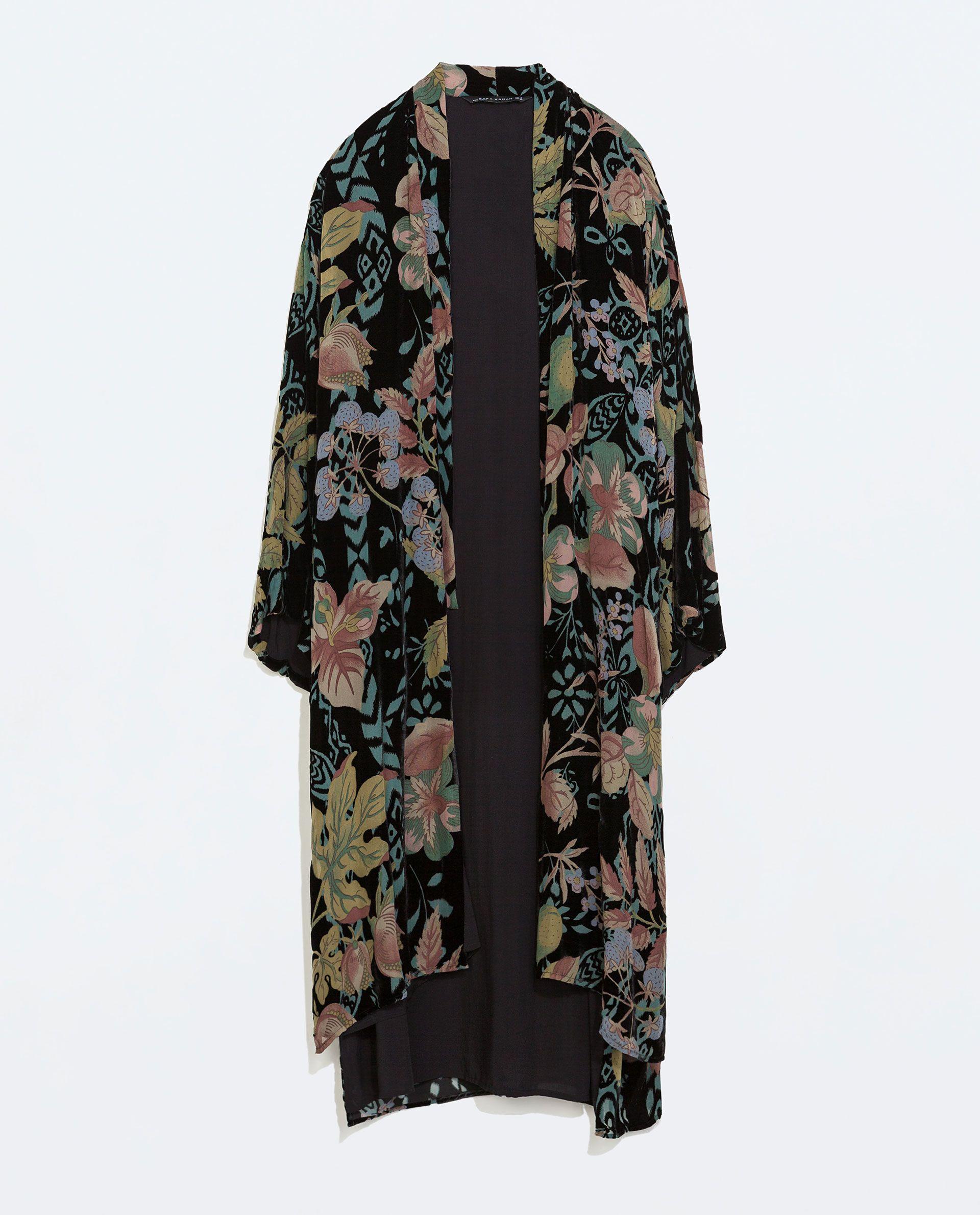 efe488c7d LONG VELVET KIMONO from Zara | My Style | Outerwear women, Kimono ...