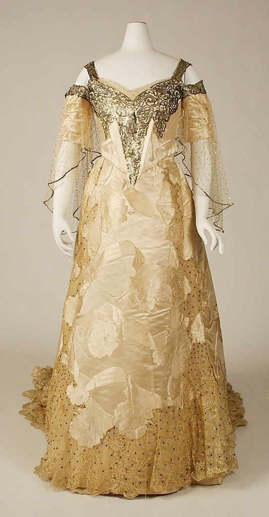 House of Worth, Silk Ball Gown Embellished with Sequins. Paris, c. 1900.