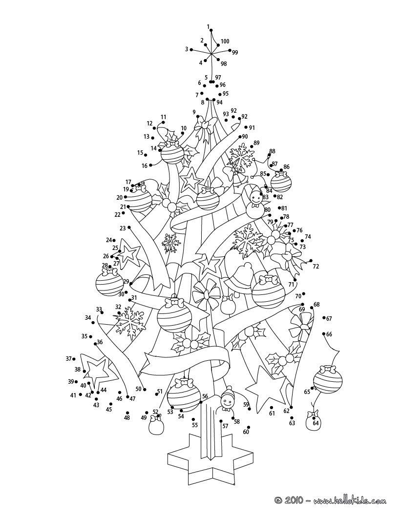 Christmas tree printable connect the dots game | Christmas ...