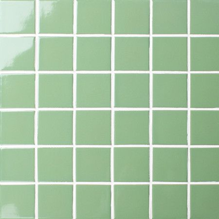 Bluwhale Tile Pure Light Green 48x48mm Ceramic Mosaic In Classic Series,  Ideal For Bathroom,
