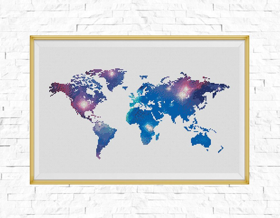 Bogo free galaxy world map cross stitch pattern world map galaxy world map cross stitch pattern world map silhouette galaxy counted xstitch gumiabroncs Images