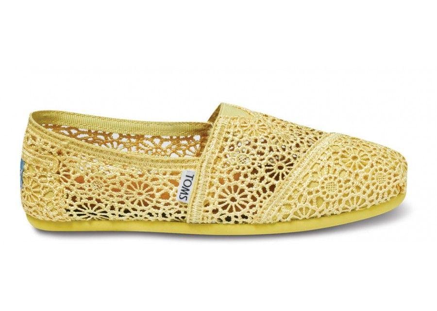95f42a2ac78 Yellow Crochet Women s Classics TOMS