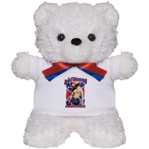 Teddy Bear White Dixie Traditions Southern Six Pack On Rebel Flag Artsmith Inc