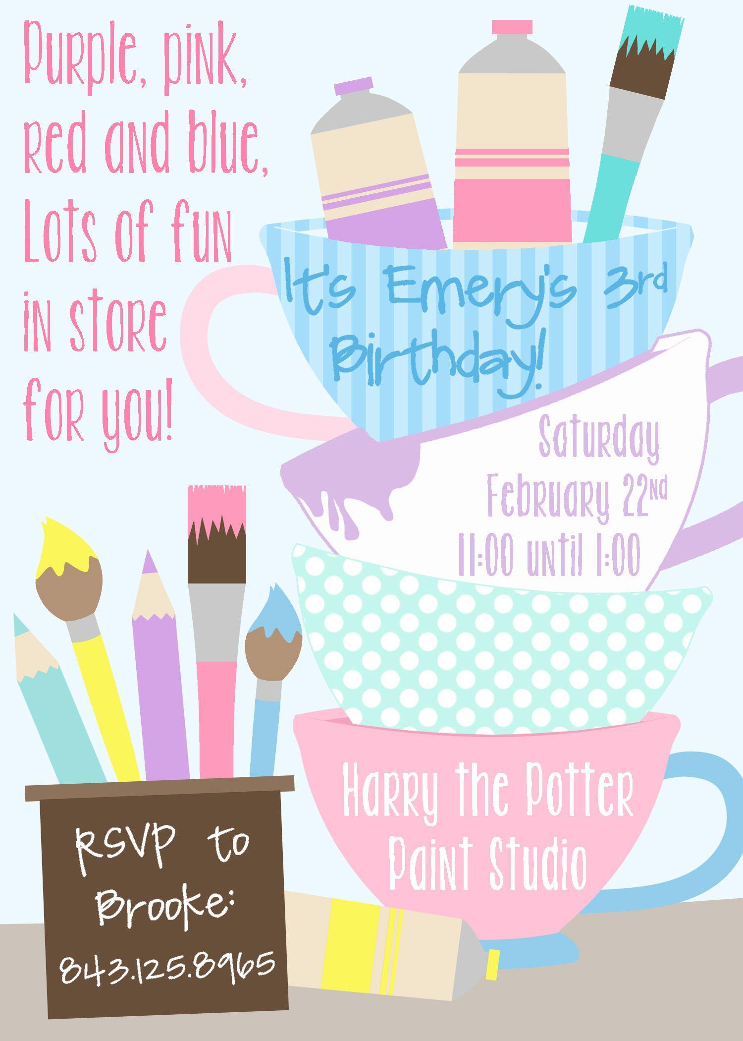 Teacup Paint Party Invitation- Pastel Colors | PARTY - pottery paint ...