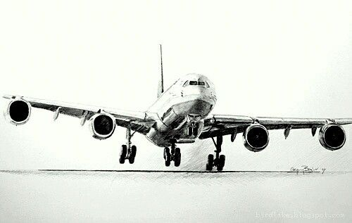 Realistic Pencil Airplane Drawing