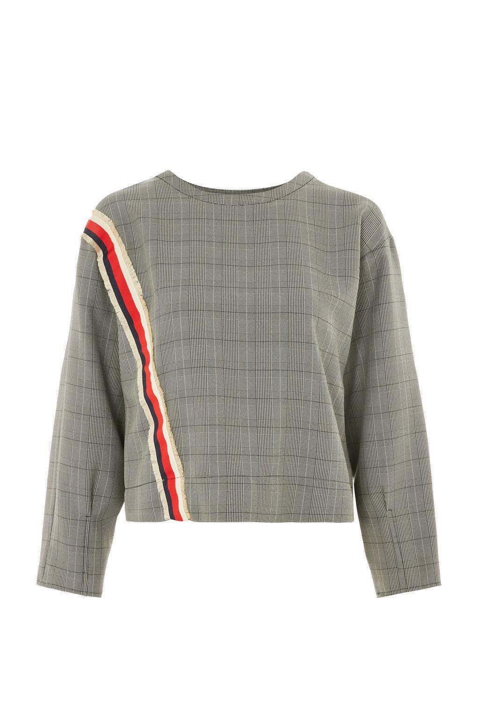 Stripe Trim Checked Sweatshirt | TopShop | Fashion, Leather