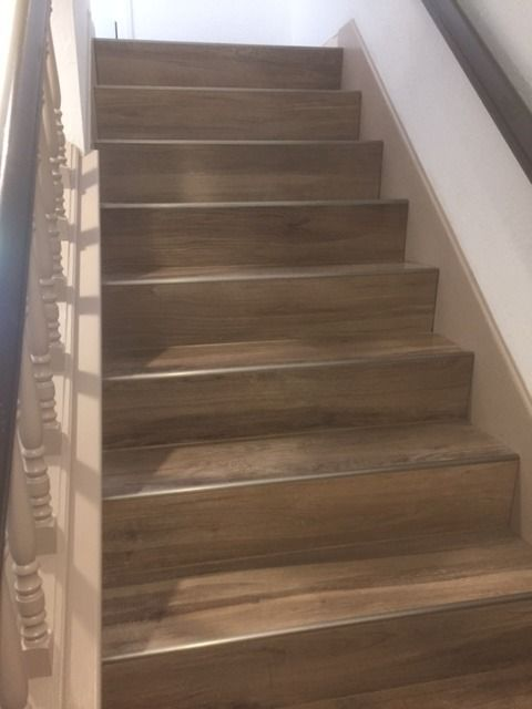 Our Aequa Series Woodlookporcelain Tile Offers A 12x48 Quot Plank Size Perfect For Stairs Https