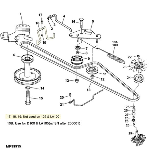 John Deere La100 D100 Gear Transmission Parts Diagram