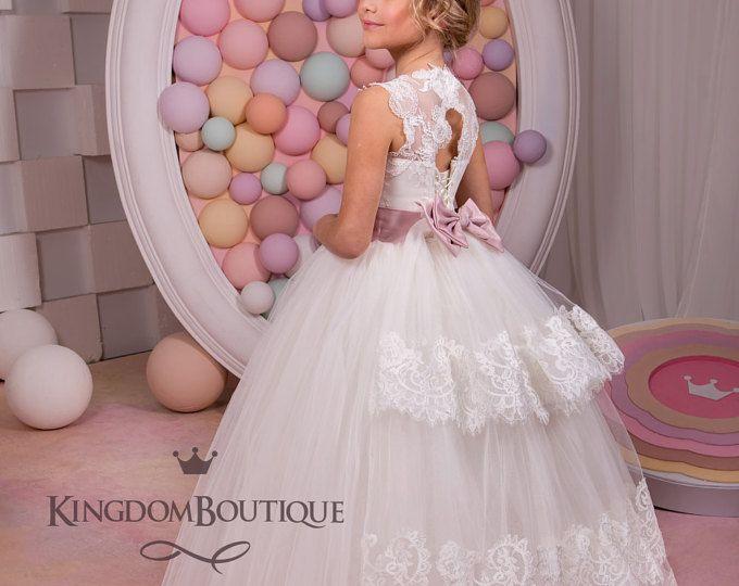 Marfil vestido - cumpleaños de Dama de honor boda fiesta vacaciones Ivory de encaje y Tul 14-673