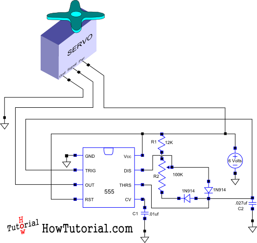 How Do You Build A Simple Circuit To Control A Servo Simple Circuit Electronics Circuit Electronic Engineering