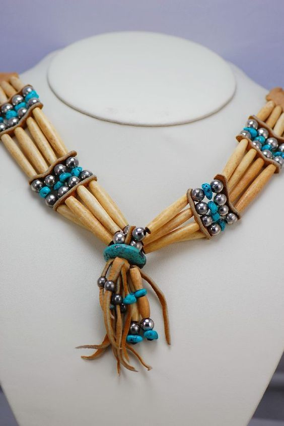 Turquoise And Bone Native American Style Necklace And Earrings Traditional Ancient Style Turquoise And Bone Hairpipe Jewelry