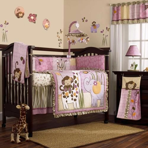 Pink And Purple Jungle Safari Animals Baby Girl 8pc Crib Bedding
