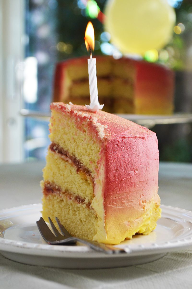 Sunset Ombre Cake Recipe Ombre Birthday Cakes And Sunset