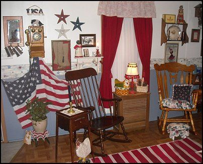 Primitive Americana Decorating Style Folk Art Heartland Decor Rustic Home Colonial Country Bedroom