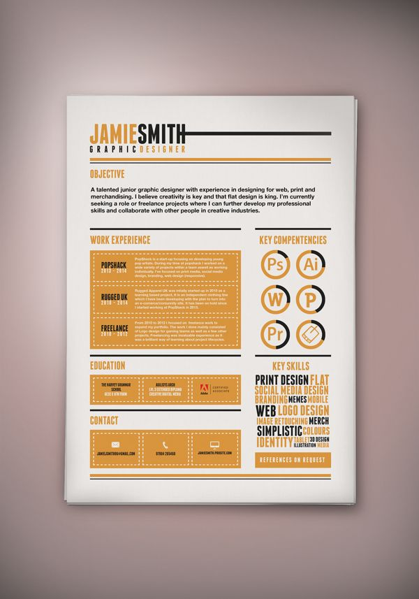 Nice stylized CV Design by Jamie Smith, via Behance cv design - where can i print my resume