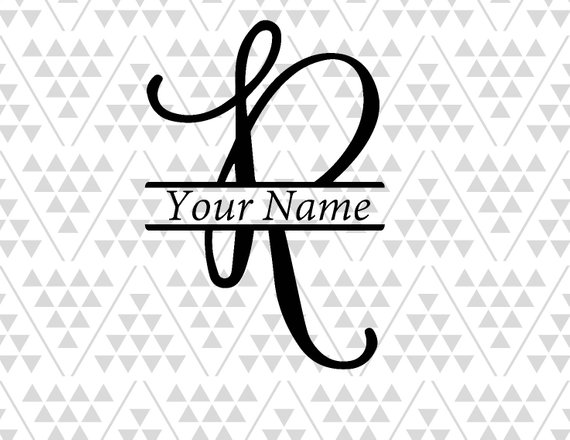 Monogram letter R, Split letter R, silhouette files, digital