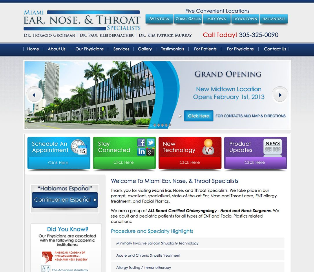 Miami ear, Nose & Throat Specialists are a group of ALL Board Certified Otolaryngology - Head and Neck Surgeons. They take pride in their prompt, excellent, specialized, state-of-the-art Ear, Nose and Throat care, ENT allergy treatment, and Facial Plastics.