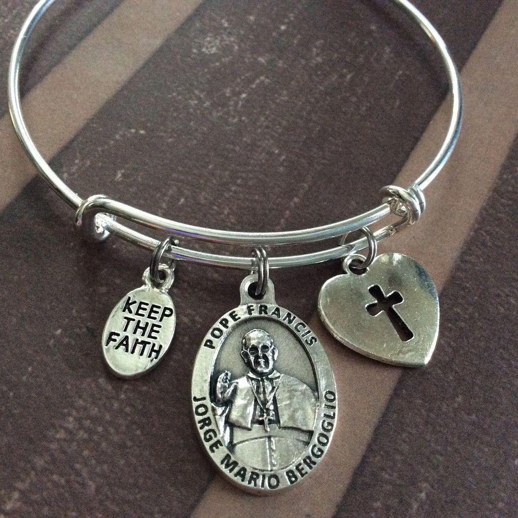 Inspirational Charm Bracelets: Keep The Faith Pope Francis Silver Medal Expandable Charm