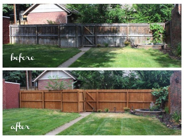Sunlight sparkle diy wood fence refinishing fence for Old wooden fence ideas