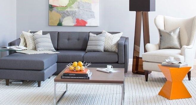 modern gray couch living room