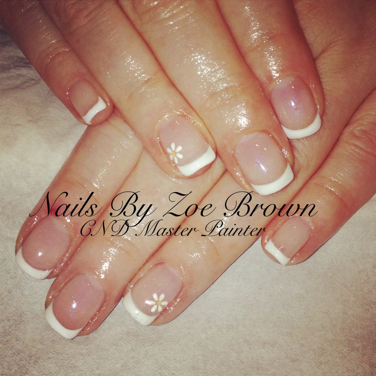 CND shellac French manicure with daisies | Valentine crafts ...