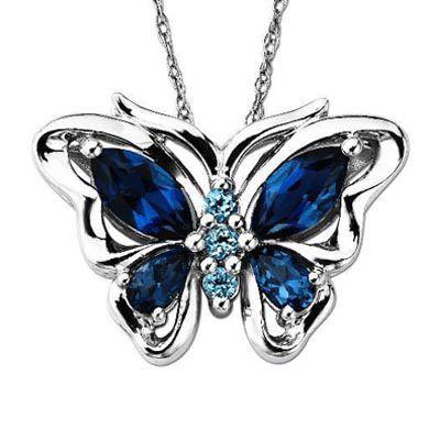 Multi Shaped Blue Topaz Butterfly Pendant In Sterling