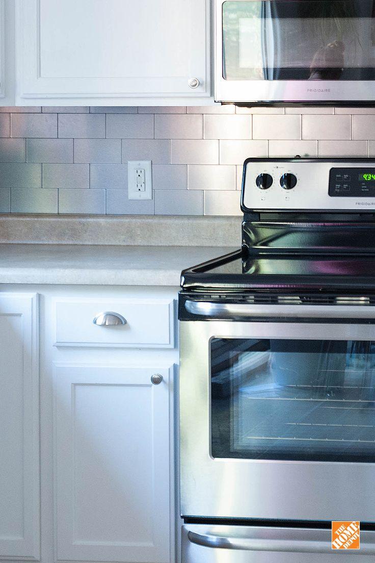 easy backsplash installation with decorative metal tile kitchen ideas inspiration easy. Black Bedroom Furniture Sets. Home Design Ideas