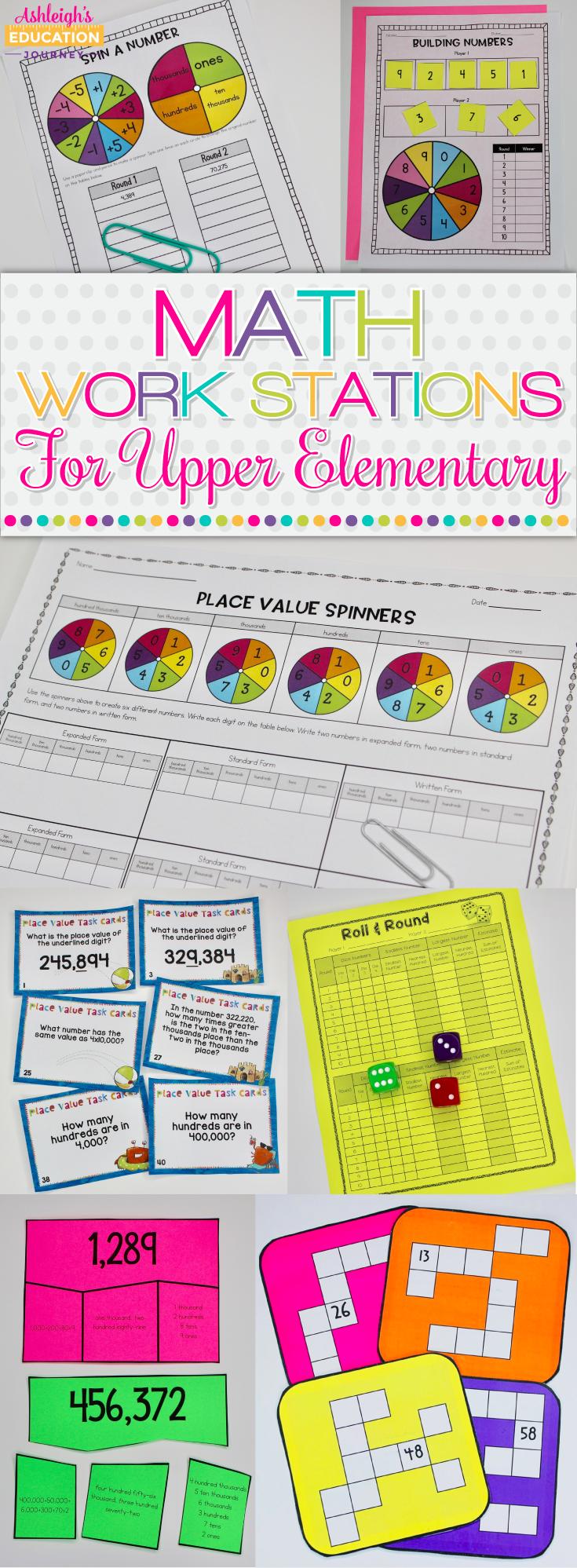 Math Work Stations for Upper Elementary - Ashleigh's Education Journey