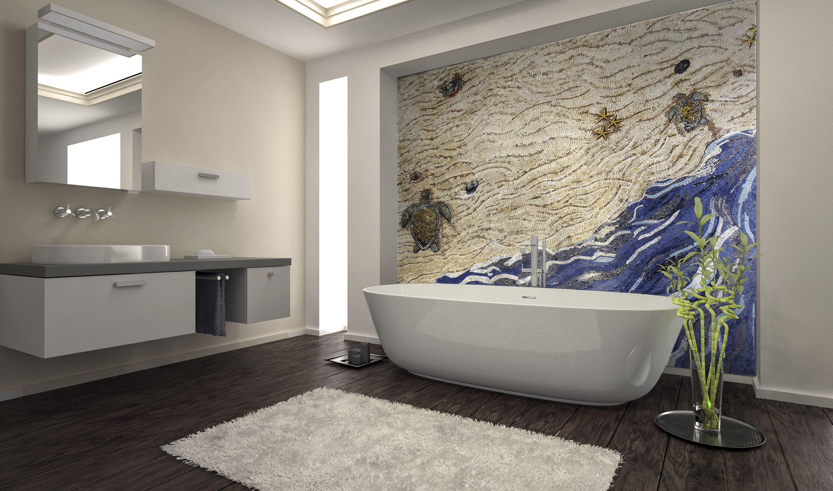 Mosaic Bathroom Designs Sea Creatures On Seashore Handmade Mosaic  Mosaic Designs Mosaic