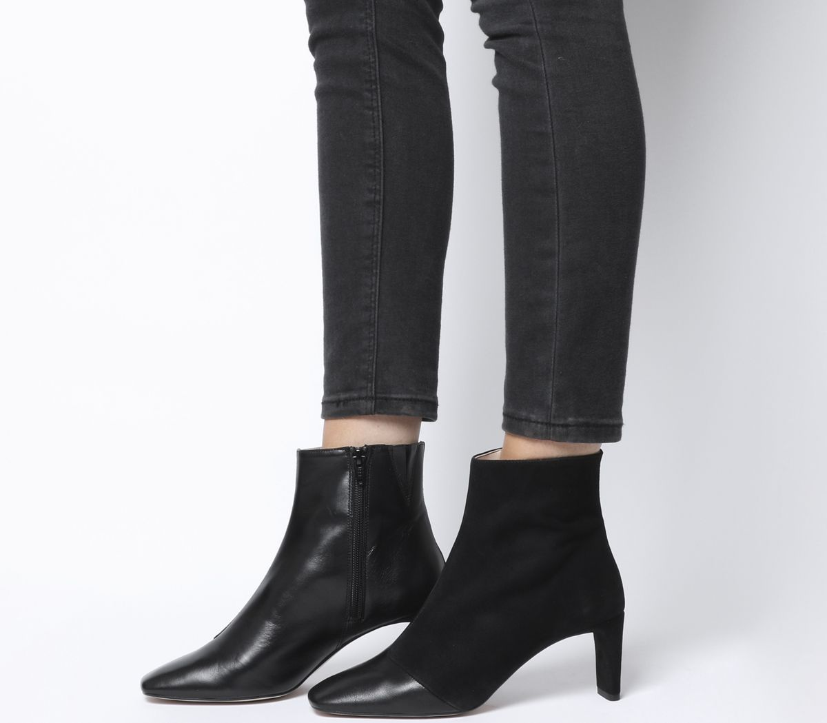 Adverse Square Toe Low Heel Boots Boots Low Heel Boots Black Heel Boots