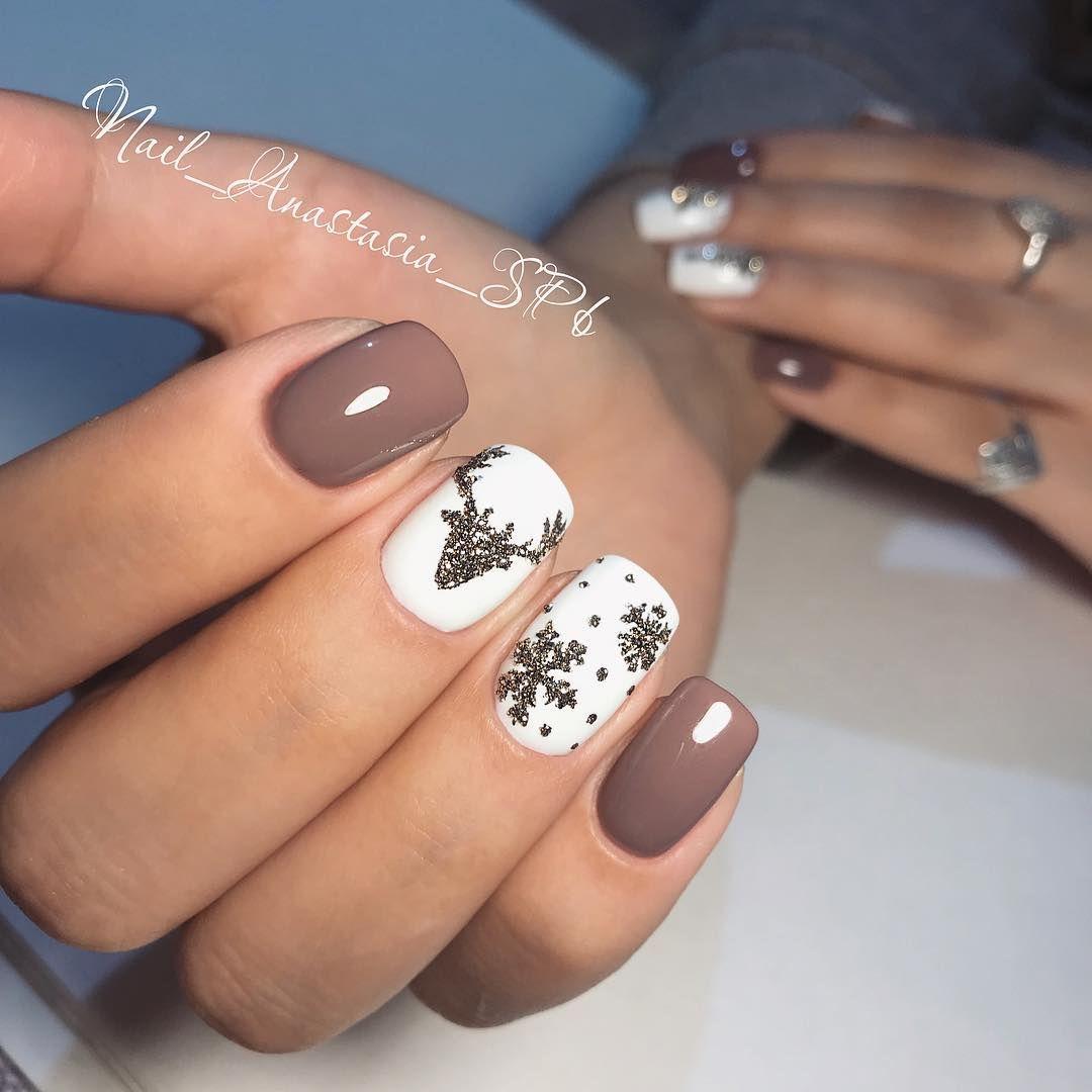 "Anastasia on Instagram: ""💅🦌❄️#shellac #nails #naildesign #french #space #мастерманикюра #маникюрспб #nail__spb #идеяманикюра #earth #блестки #стразы…"""