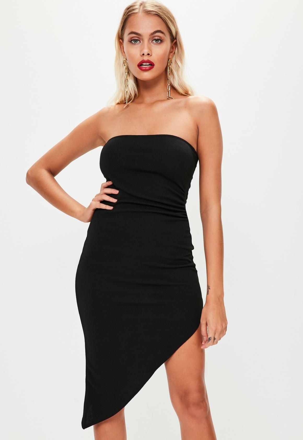 3c7b0668e6b4 Missguided - Black Bandeau Asymmetric Hem Bodycon Dress | Clothing ...
