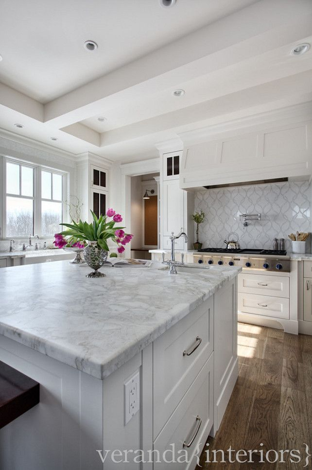 Honed White Marble Kitchen Counters