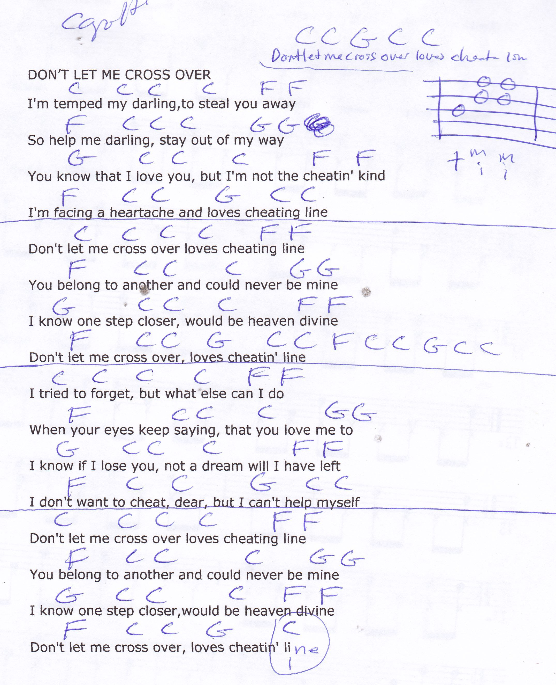 Dont Let Me Cross Over The Line Jim Reeves Guitar Chord Chart