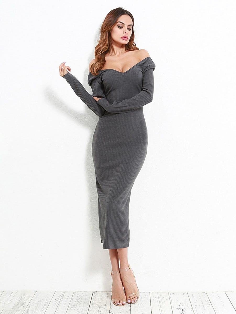eee40e9817 Elegant Plain Sheath Off the Shoulder Long Sleeve Natural Grey Long Length  Off Shoulder Ribbed Dress