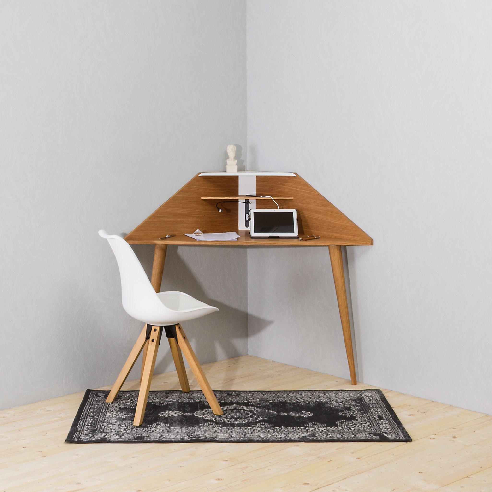 Noook Eckretär   Multifunktionaler Design Eck Schreibtisch Im Look Der  Perfekt Für Kleine Räume✓ In Weiß Oder In Eiche✓ Eck Sekretär✓ Eck Tisch✓