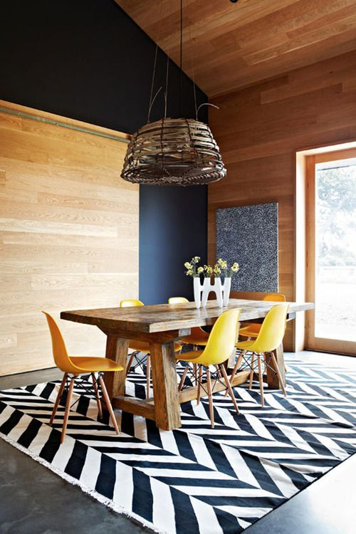 Modern Rustic Dining Room: Chunky Harvest Table, Modern Chairs, Bold Print  Chevron Rug