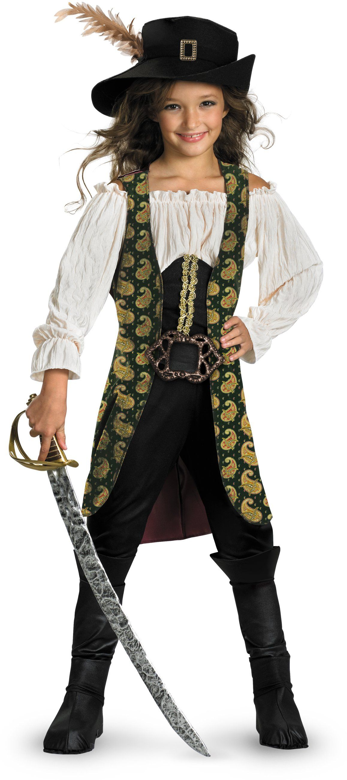 Girls Child Pirate Of Caribbean Deluxe Angelica Costume