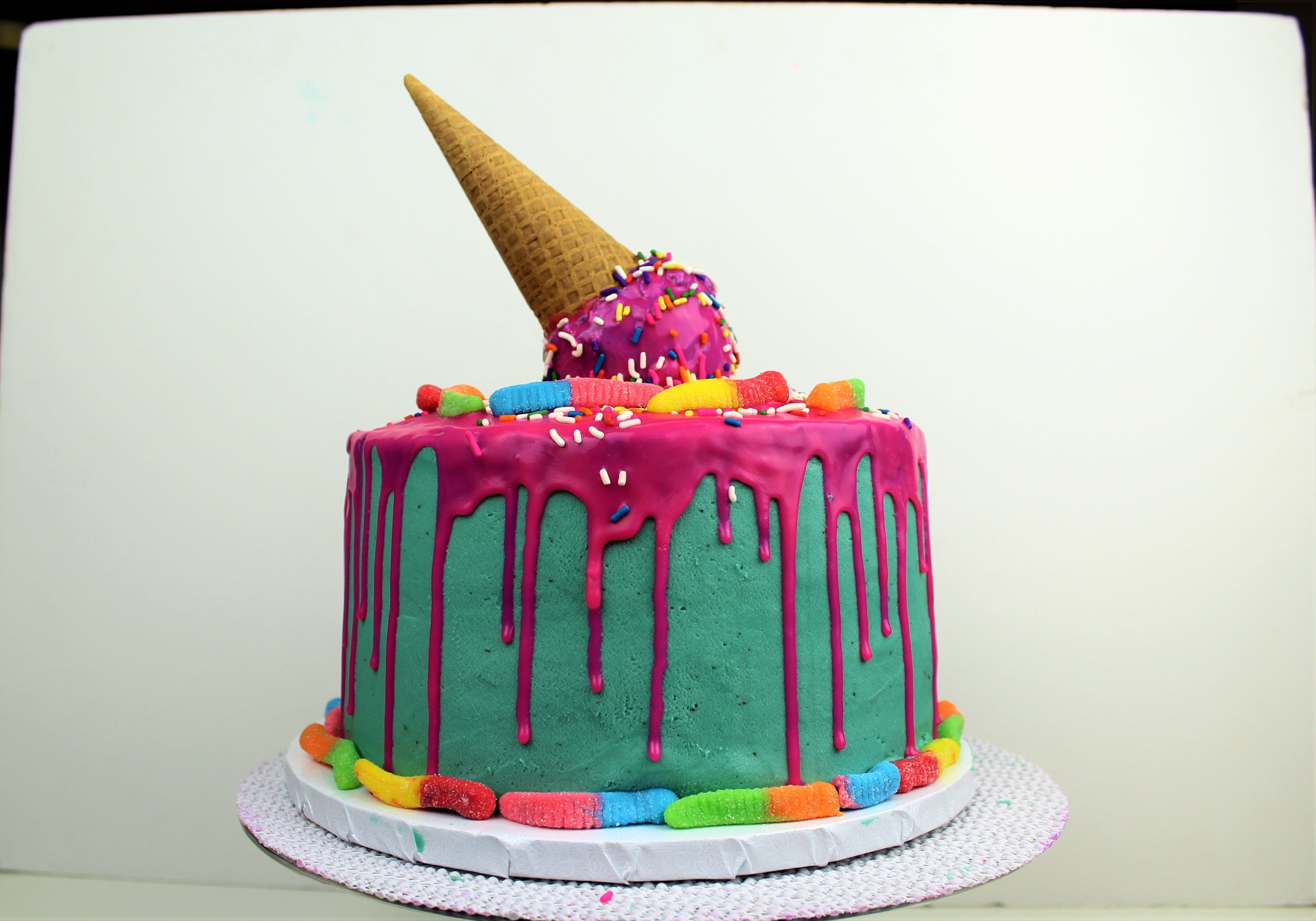 Easy Pink Drip Cake With Melting Ice Cream Cone I CHELSWEETS