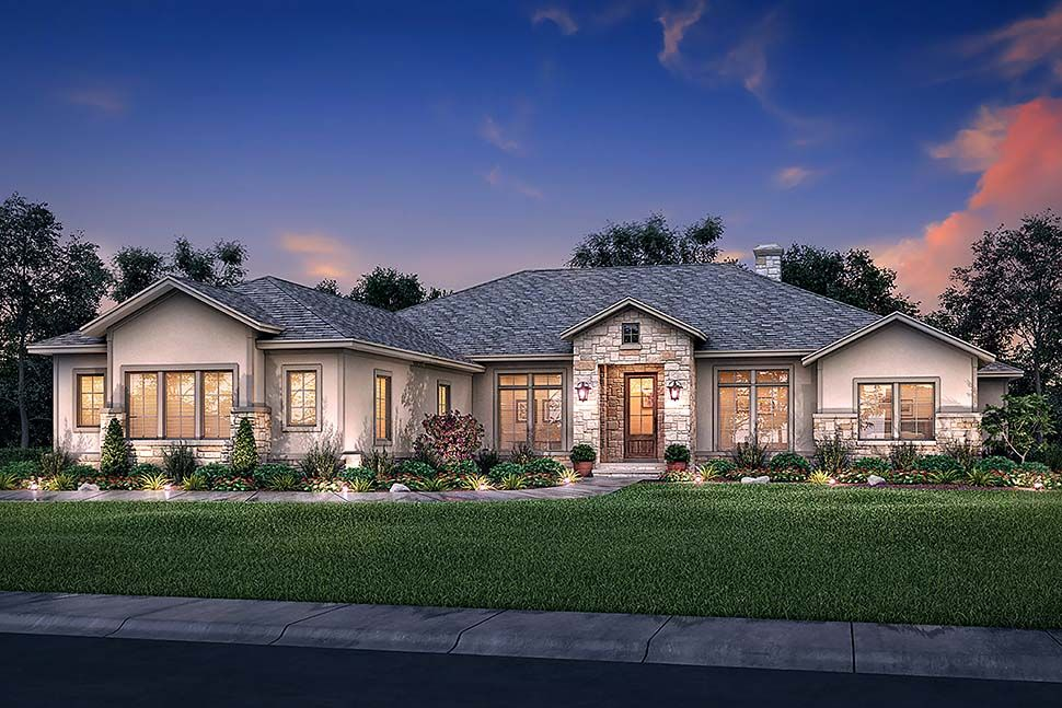 Traditional Style House Plan 51983 with 4 Bed, 4 Bath, 3