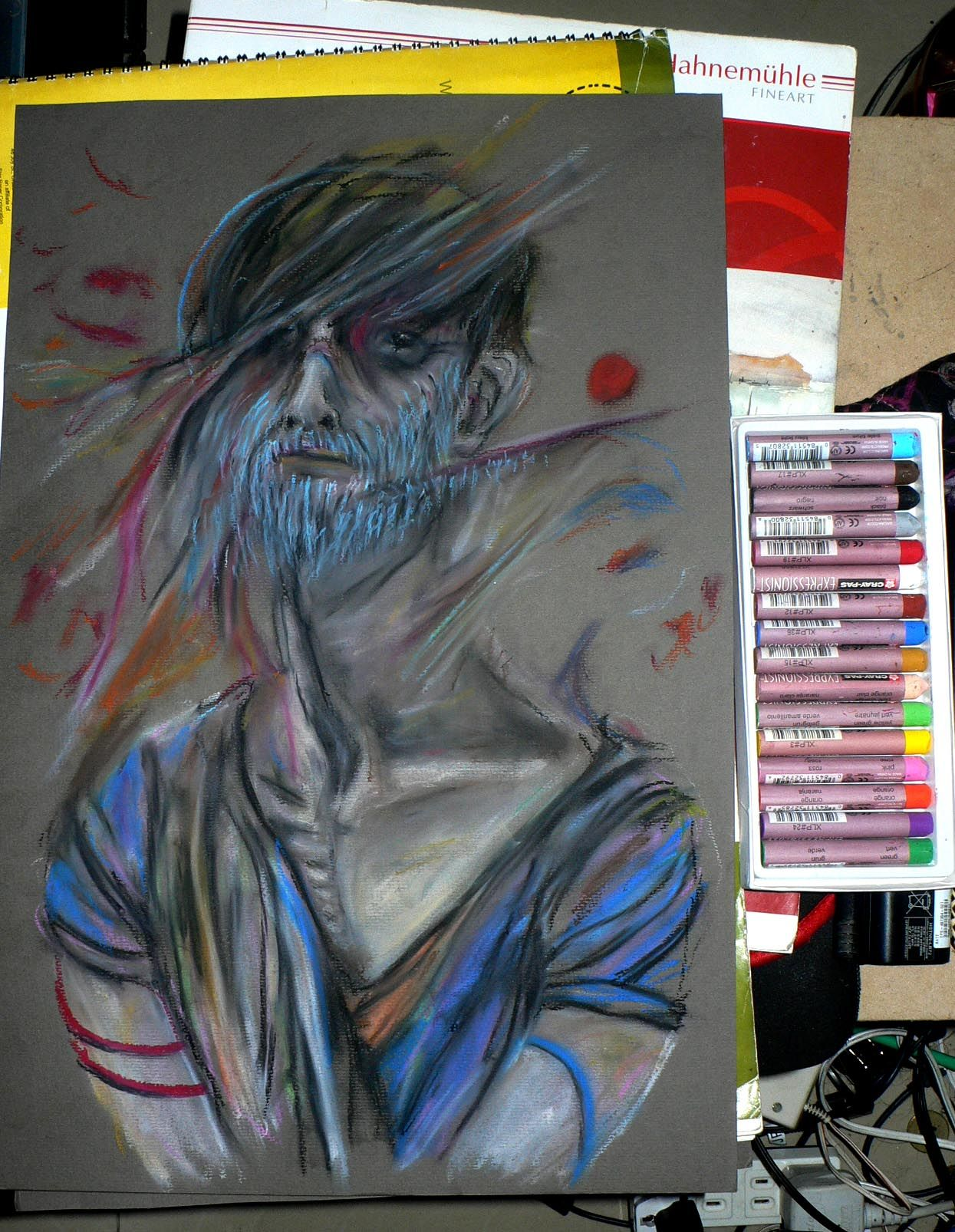 Bearded Troubled Practice Set Oil Pastel On Paper