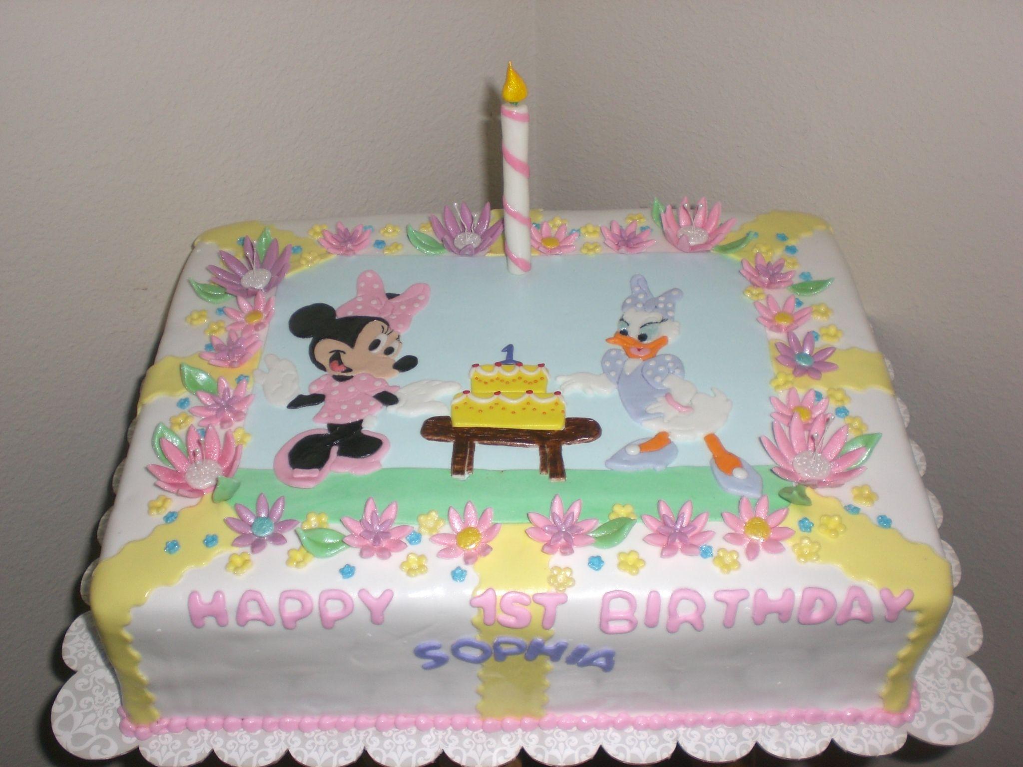 Minnie Daisy Birthday Cake Fondant Minnie And Dasiy With Fondant