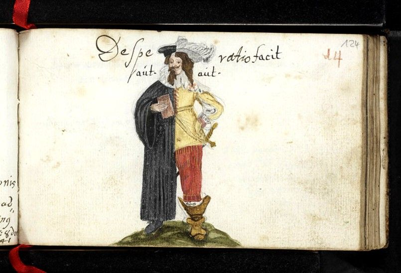 "bifid figure -- the title is to be read ""Desperatio facit aut [MONACHUM] aut [MILITEM]"" [it is desperation that makes a man either a soldier or a monk] from the album of Heinrich Christi, dated entries 1641-3 -- image via the HAAB, Weimar. The original proverb in Latin is not registered in TPMA (which only registers Luther's frequent use of ""Desperation makes the monk""!) -- I'm still looking for 16thC occurrences of it -- this present one is pretty early"