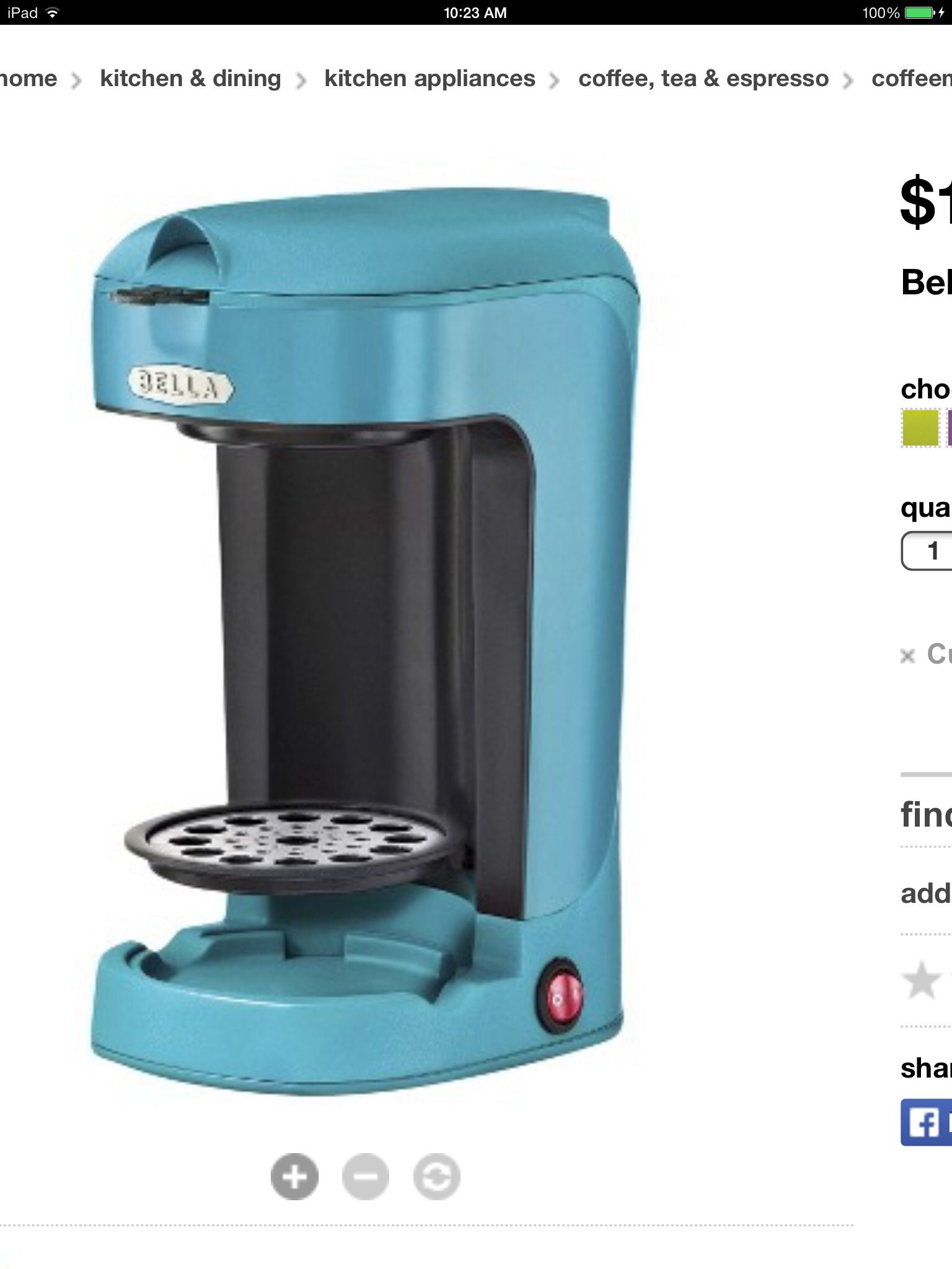 Bella single cup coffee maker, comes in different colors