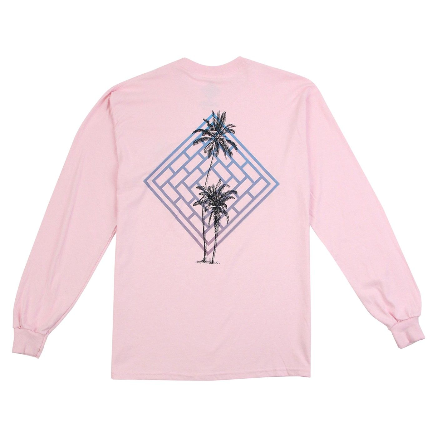 The National Skateboard Co Fade Palm L/S T Shirt in Pink